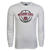 White Long Sleeve T Shirt-Missouri State Basketball Arched w/ Ball