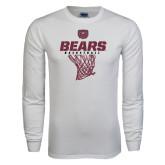 White Long Sleeve T Shirt-Bears Basketball Hanging Net