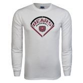 White Long Sleeve T Shirt-Bears Baseball Arched in Diamond