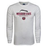 White Long Sleeve T Shirt-Missouri State Baseball Stacked