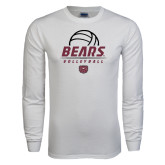 White Long Sleeve T Shirt-Bears Volleyball Stacked