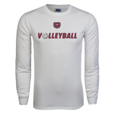 White Long Sleeve T Shirt-Volleyball w/ Ball