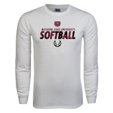 White Long Sleeve T Shirt-Softball Distressed Texture
