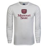 White Long Sleeve T Shirt-Bear Head Missouri State Stacked
