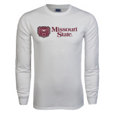 White Long Sleeve T Shirt-Horizontal Missouri State w/ Bear Head