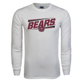 White Long Sleeve T Shirt-Slanted Bears w/ Bear Head