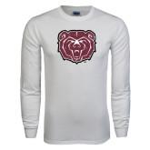 White Long Sleeve T Shirt-Bear Head Distressed