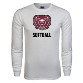 White Long Sleeve T Shirt-Softball