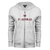 ENZA Ladies White Fleece Full Zip Hoodie-Volleyball w/ Ball