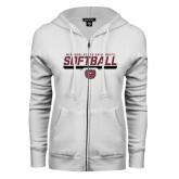 ENZA Ladies White Fleece Full Zip Hoodie-Missouri State University Volleyball Stencil