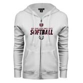 ENZA Ladies White Fleece Full Zip Hoodie-Softball Distressed Texture