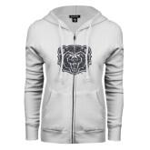 ENZA Ladies White Fleece Full Zip Hoodie-Bear Head Graphite Glitter