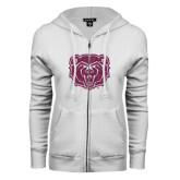 ENZA Ladies White Fleece Full Zip Hoodie-Bear Head Pink Glitter