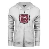 ENZA Ladies White Fleece Full Zip Hoodie-Bear Head