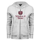 ENZA Ladies White Fleece Full Zip Hoodie-Bear Head Missouri State Stacked