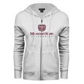 ENZA Ladies White Fleece Full Zip Hoodie-Missouri State University Stacked w/ Bear Head
