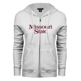 ENZA Ladies White Fleece Full Zip Hoodie-Missouri State