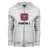 ENZA Ladies White Fleece Full Zip Hoodie-Basketball