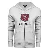 ENZA Ladies White Fleece Full Zip Hoodie-Volleyball