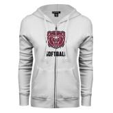 ENZA Ladies White Fleece Full Zip Hoodie-Softball