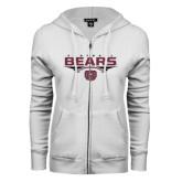 ENZA Ladies White Fleece Full Zip Hoodie-Bears Football Stacked