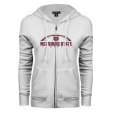 ENZA Ladies White Fleece Full Zip Hoodie-Missouri State Football w/ Ball