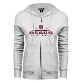 ENZA Ladies White Fleece Full Zip Hoodie-Bears Football w/ Field