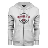 ENZA Ladies White Fleece Full Zip Hoodie-Missouri State Basketball Arched w/ Ball