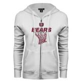 ENZA Ladies White Fleece Full Zip Hoodie-Bears Basketball Hanging Net