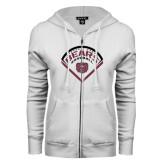 ENZA Ladies White Fleece Full Zip Hoodie-Bears Baseball Arched in Diamond