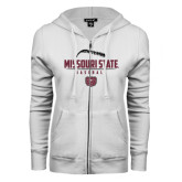 ENZA Ladies White Fleece Full Zip Hoodie-Missouri State Baseball Stacked