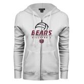 ENZA Ladies White Fleece Full Zip Hoodie-Bears Volleyball Stacked