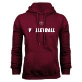 Maroon Fleece Hoodie-Volleyball w/ Ball