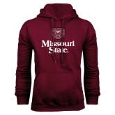 Maroon Fleece Hoodie-Bear Head Missouri State Stacked