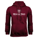 Maroon Fleece Hoodie-Missouri State University Stacked w/ Bear Head