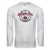 Syntrel Performance White Longsleeve Shirt-Missouri State Basketball Arched w/ Ball