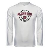 Performance White Longsleeve Shirt-Missouri State Basketball Arched w/ Ball