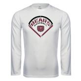 Performance White Longsleeve Shirt-Bears Baseball Arched in Diamond