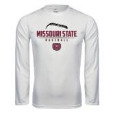 Syntrel Performance White Longsleeve Shirt-Missouri State Baseball Stacked