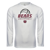 Performance White Longsleeve Shirt-Bears Volleyball Stacked