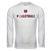 Performance White Longsleeve Shirt-Volleyball w/ Ball