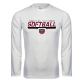 Performance White Longsleeve Shirt-Missouri State University Volleyball Stencil