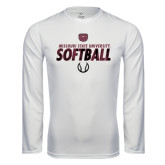 Syntrel Performance White Longsleeve Shirt-Softball Distressed Texture