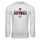 Syntrel Performance White Longsleeve Shirt-Softball Distressed Texture