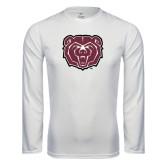 Performance White Longsleeve Shirt-Bear Head