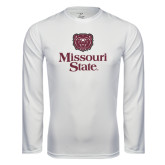 Syntrel Performance White Longsleeve Shirt-Bear Head Missouri State Stacked