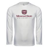 Syntrel Performance White Longsleeve Shirt-Missouri State University Stacked w/ Bear Head