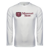 Performance White Longsleeve Shirt-Horizontal Missouri State w/ Bear Head