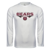 Syntrel Performance White Longsleeve Shirt-Bears Football Stacked