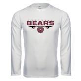 Performance White Longsleeve Shirt-Bears Football Stacked
